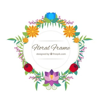 Modern frame with flat flowers