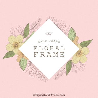 Modern frame with hand drawn flowers