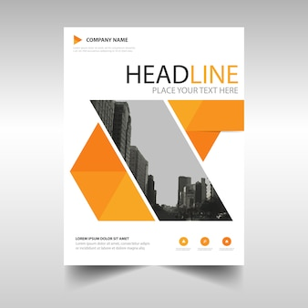Modern geometric brochure template, orange