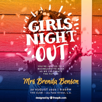 Modern girls party invitation
