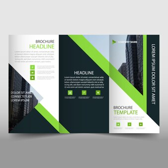 Modern green and black trifold business brochure template
