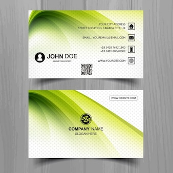 Modern green business card with wavy shapes