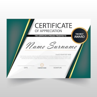 Modern green horizontal diploma design