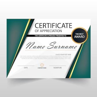 Modern green horizontal diploma design