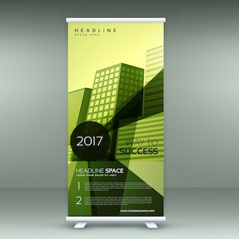 透明な幾何学的形状と緑の近代的なロールアップバナースタンドの設計
