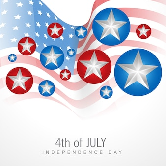 Modern independence day design with stars