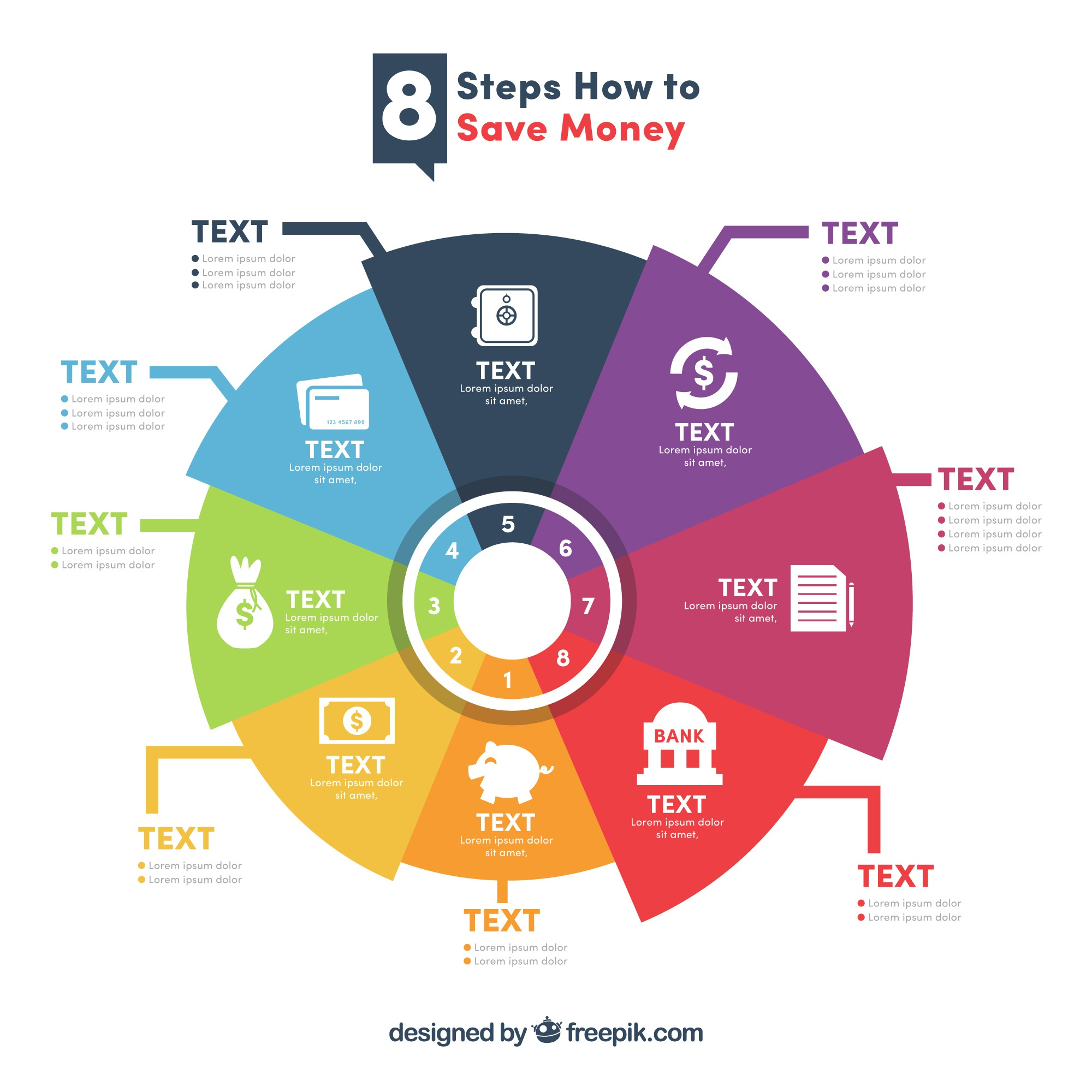 Modern infographic with eight steps to save money
