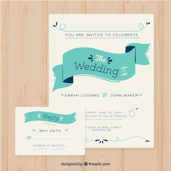 Modern invitation template with ribbon