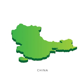 Modern Isometric 3D China Map