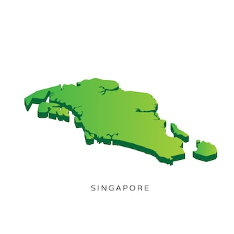 Modern Isometric 3D Singapore Map