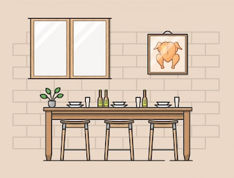 Современная иллюстрация кухни