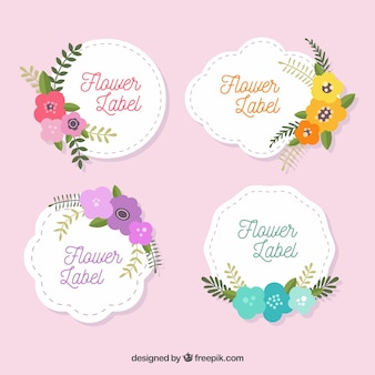 Modern labels with flat flowers