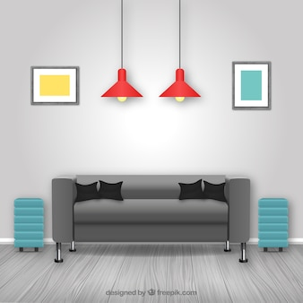 Living room vectors photos and psd files free download for Living room interior in flat