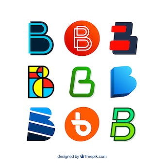 Modern logos collection of letter  b