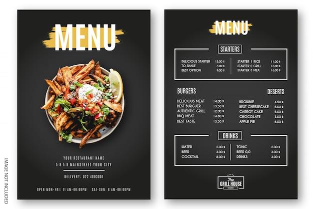 Modern menu restaurant grill