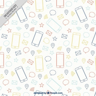 Modern mobile phone with icons background
