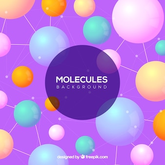 Modern molecules background with flat design