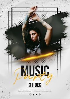 Modern music event poster with abstract brush stroke