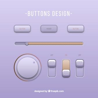 Modern music player buttons
