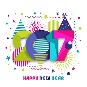 Modern new year background with colorful shapes