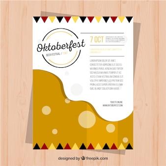 ビール泡のある現代のオクトーバーフェストポスター