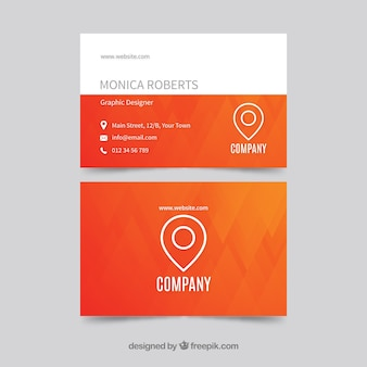 Modern orange and white business card template