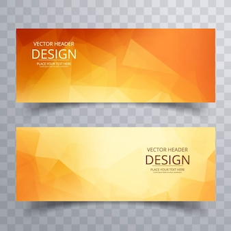 Modern orange polygonal banners