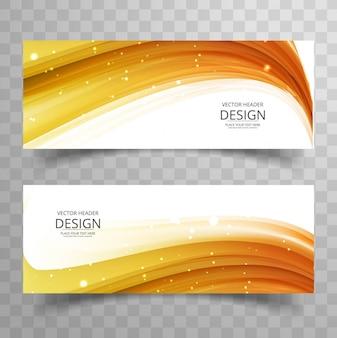 Modern orange wavy banners