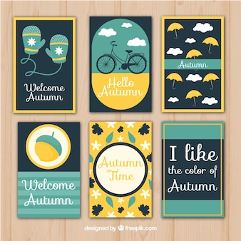 Modern pack of autumn cards