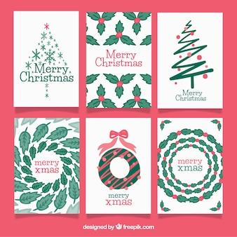 クリスマスカードの現代的なパック