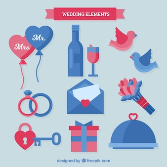 Modern pack of flat wedding elements