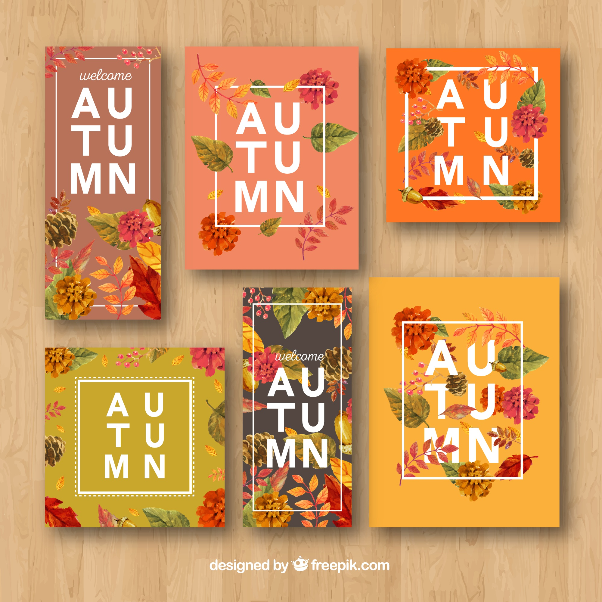 Modern pack of floral autumn cards