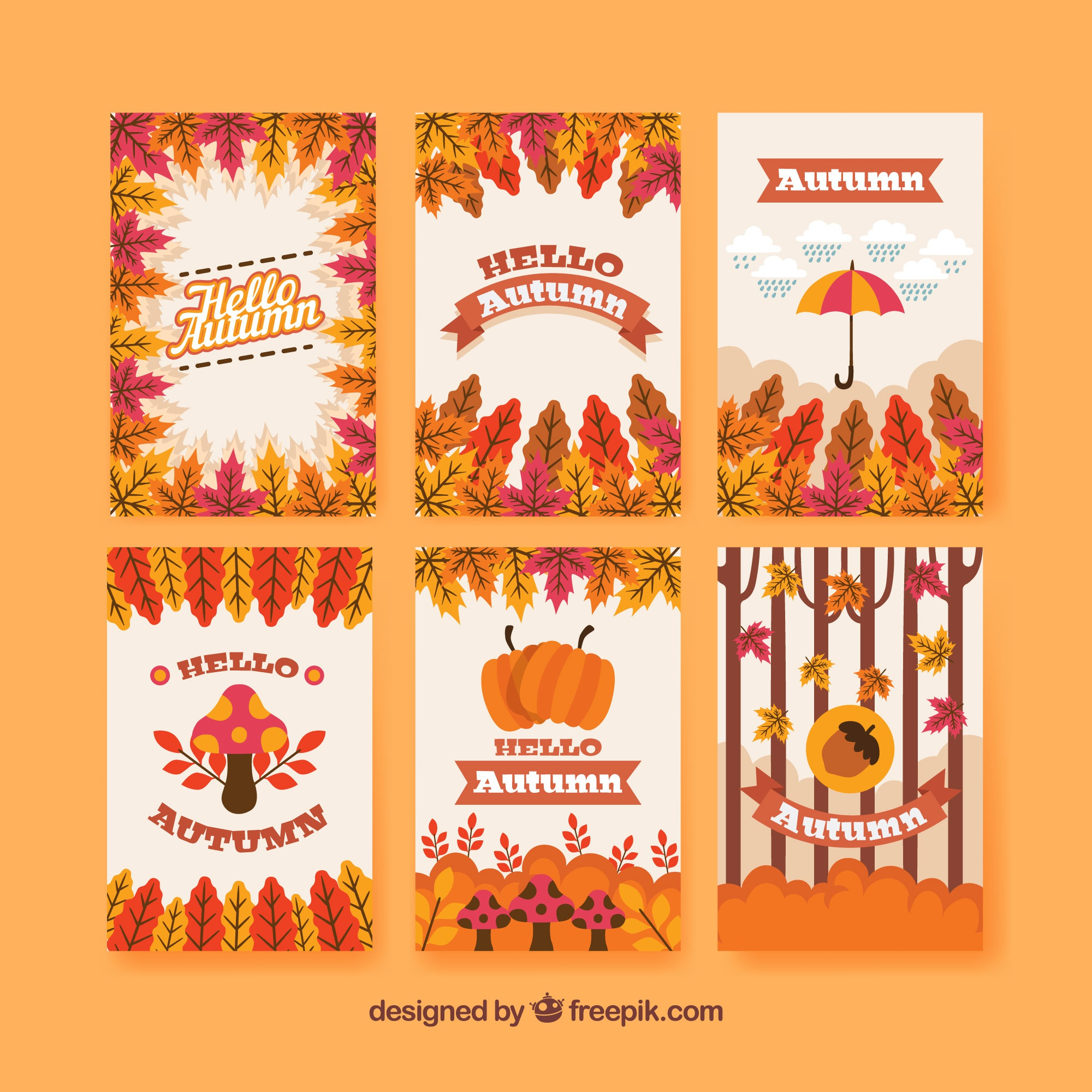 Modern pack of fun autumn cards