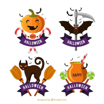 Modern pack of funny halloween labels