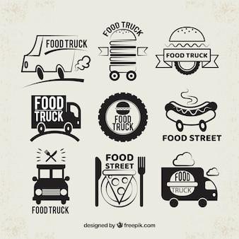 Modern pack of original food truck logos