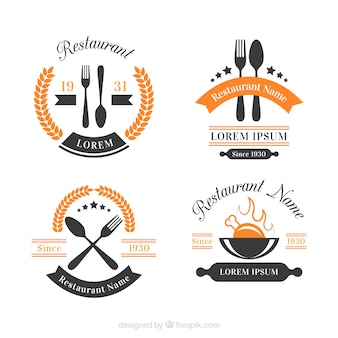 Modern pack of restaurant logo with vintage style