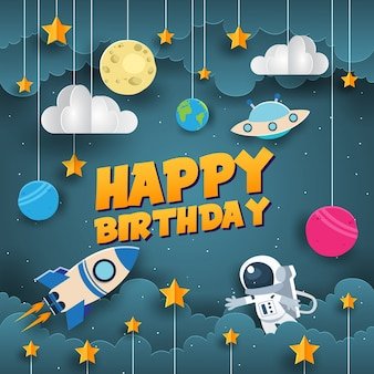 Modern Paper Art Style Space Theme Birthday Card