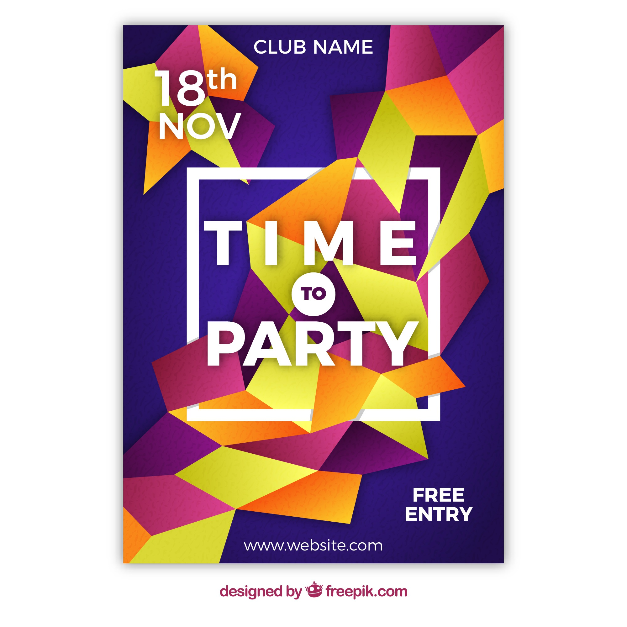 Modern party poster with abstract shapes