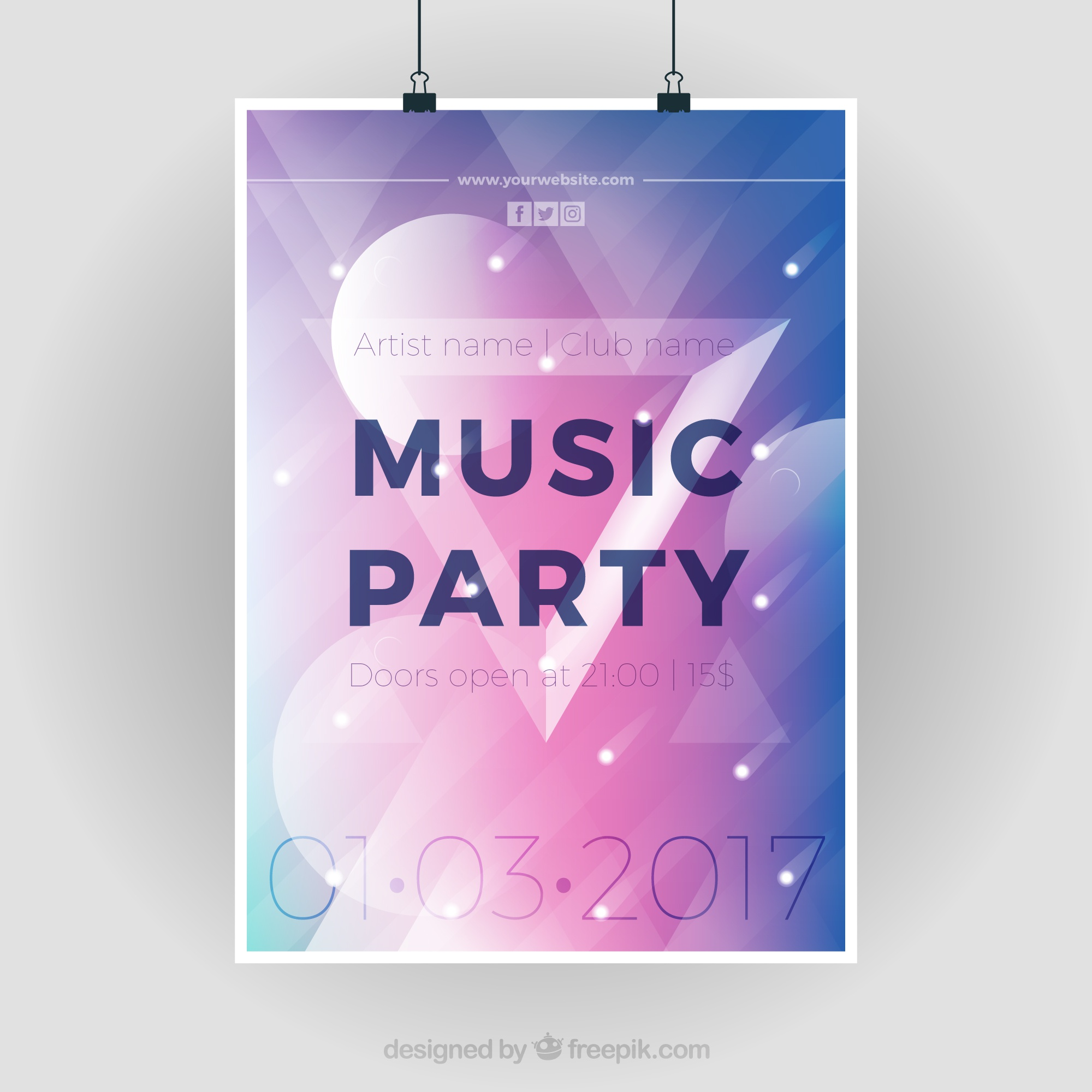 Modern party poster with geometric figures