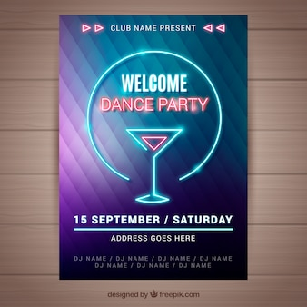 Modern party poster with neon cocktail