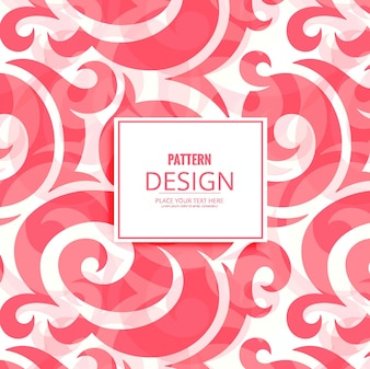 Modern pattern background with red floral forms