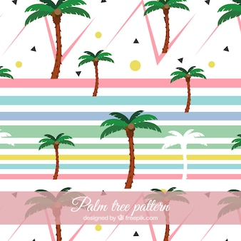 Modern pattern with geometric shapes and palm trees