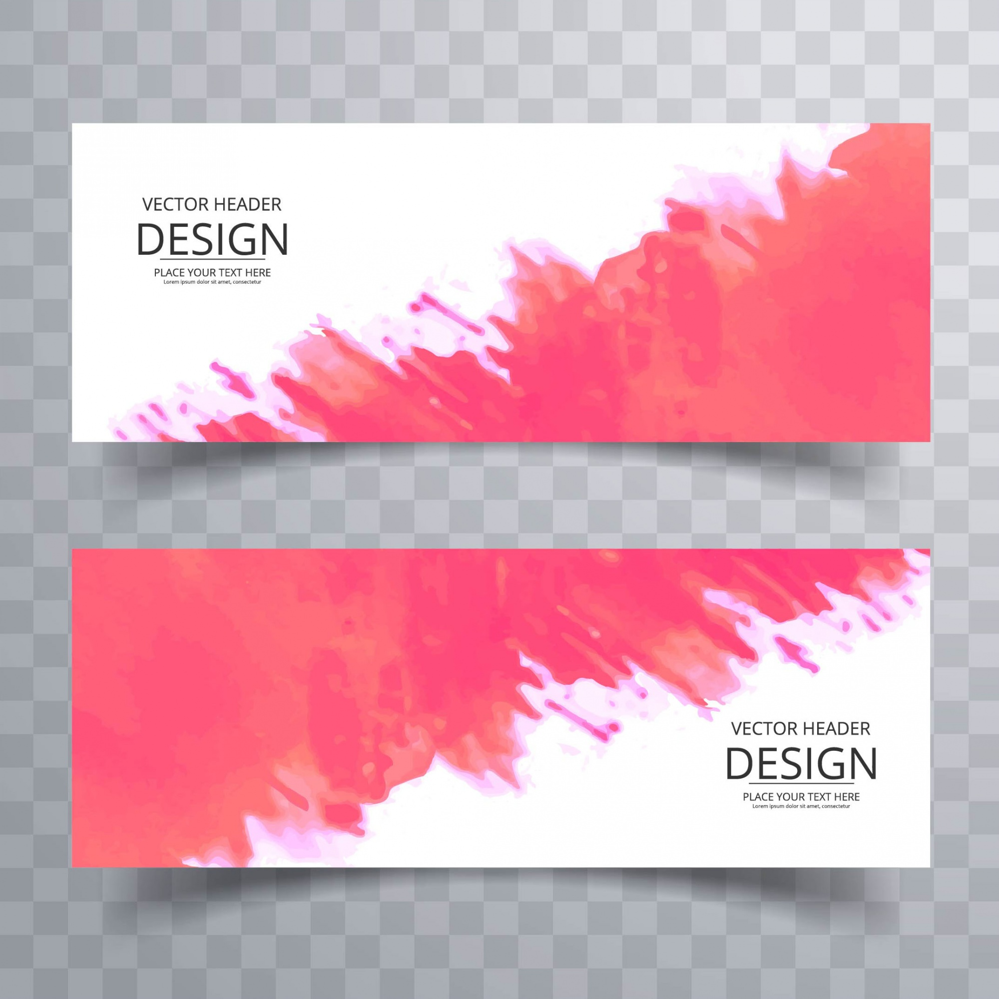 Modern pink watercolor banners