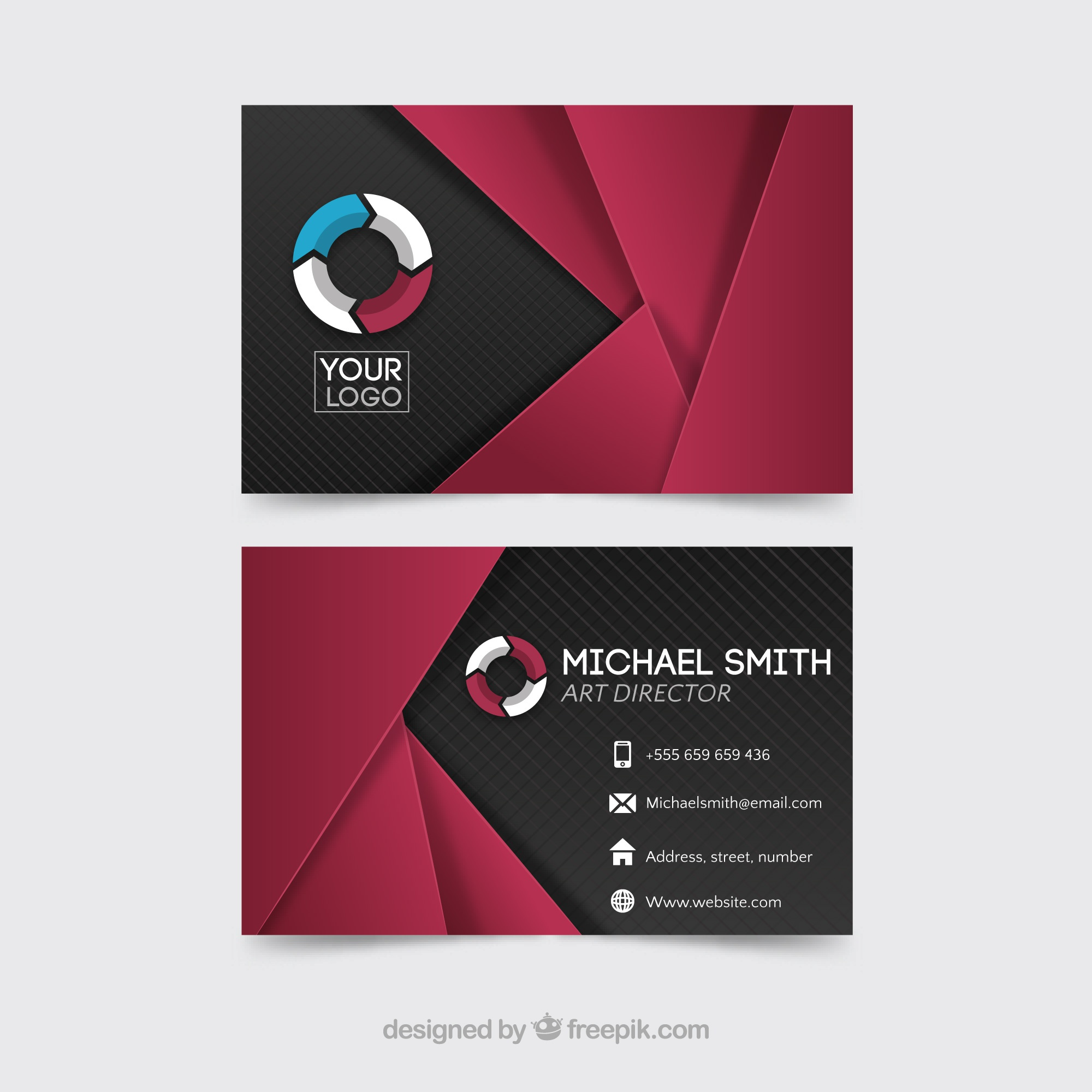 Modern polygonal corporate card
