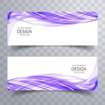 Modern purple wave banners