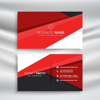 Modern red and black business card wit minimal geometrical shapes