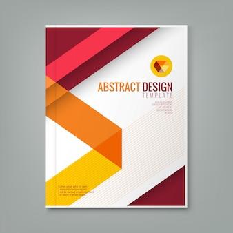 ビジネス年次報告書表紙のパンフレットチラシポスターの抽象赤い線デザイン背景テンプレート