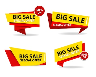 Modern red and yellow shopping sale banners