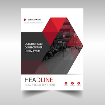 Modern red annual report book cover template