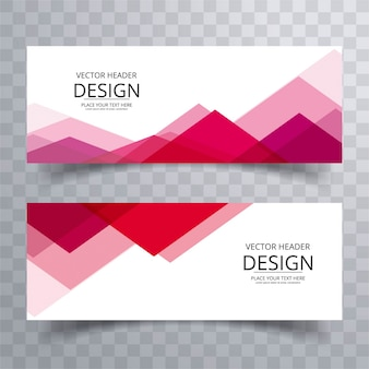 Modern red banners with triangular shapes